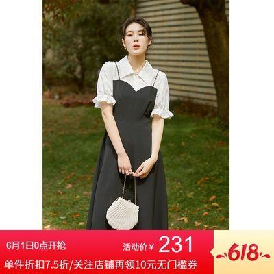 35443/独束大码赫本风假两件连衣裙女2021夏新款胖MM减龄显瘦复古茶歇裙【6月8日发完】