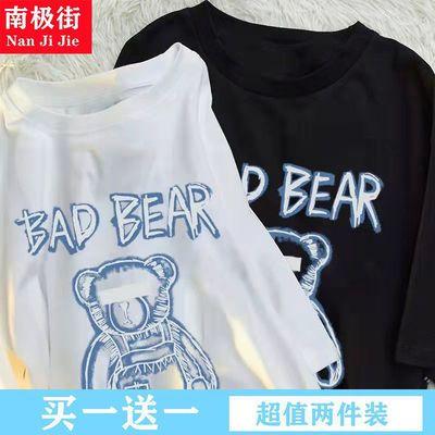 34891/2021年新款夏季短袖T恤女宽松韩版大码女装卡通印花上衣洋气ins潮
