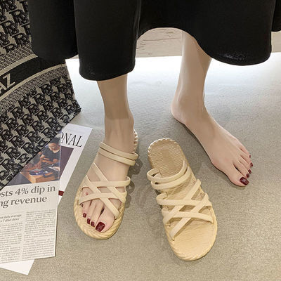 33554/凉拖鞋女夏2021新款ing网红罗马学生百搭时尚厚底外穿一字沙滩女
