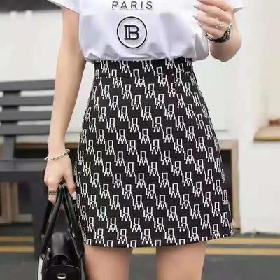 61039/高腰A字裙2021新款潮字母印花半身裙显瘦百搭韩版短裙女装防走光