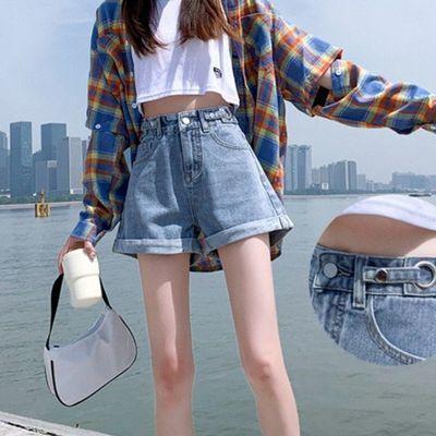 40182/高腰牛仔短裤女超高腰夏季宽松阔腿a字2021年新款夏装薄款女装潮