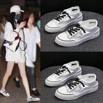 37112/凉鞋女2021新款平底百搭仙女鞋子女夏天穿透气包头小白鞋学生潮