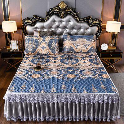 39961/凉感冰丝天然乳胶凉席床裙款三件套空调软席蕾丝床罩水洗可拆卸