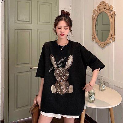 70564/短袖T恤夏季女装2021款显瘦宽松板圆领重工镶钻图案上衣ins潮流。
