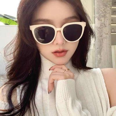 34001/张大奕同款女白色复古小框墨镜网红阿沁圆形韩版潮男圆脸太阳眼镜