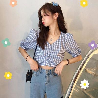 39244/法式格子衬衣新款韩版短款V领泡泡袖上衣女学生短袖衬衫女2021夏