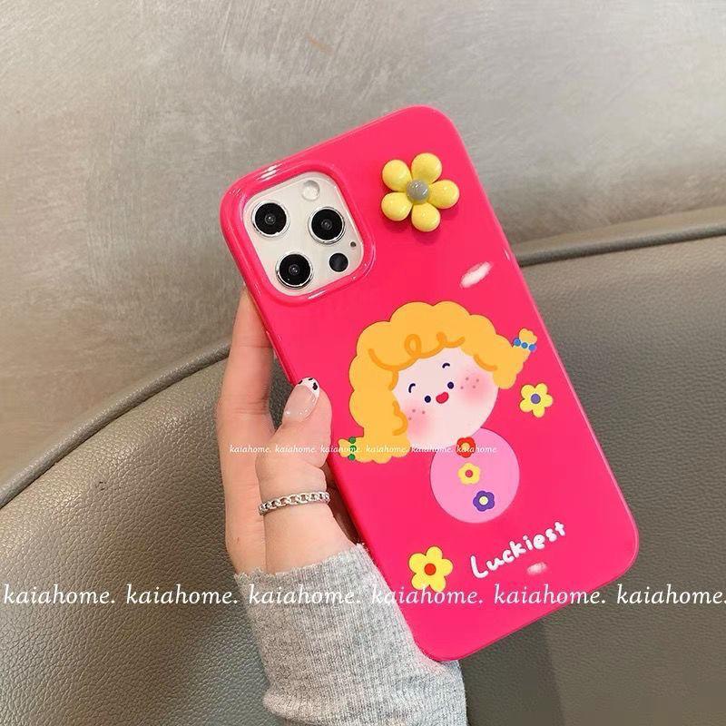 可爱立体花朵女孩12/11Pro/Max苹果11手机壳8plus软7p套X/XS/XR女