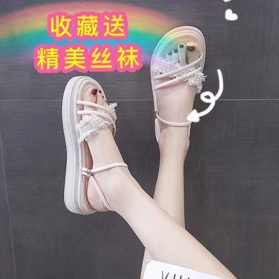 34088/拖鞋女夏2021新款外穿ins潮珍珠厚底一字网红两穿仙女风沙滩凉鞋