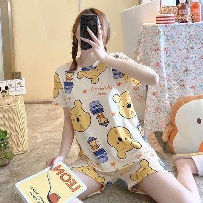33896/新款睡衣女夏韩版可爱学生清新甜美宽松休闲可外穿女士家居服套装