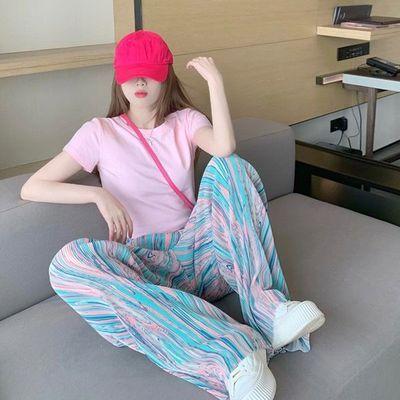 37707/夏季炸街时尚休闲运动减龄辣妹垂直感阔腿裤气质露脐短袖女两件套