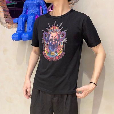 35058/夏季高档棉短袖t恤男生国潮牌INS潮流百搭宽松T恤圆领印花体恤衫