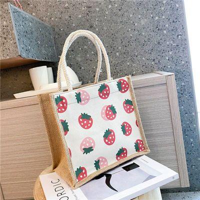 原创简约麻布包日韩女手提包包潮卡通文艺手拎零食袋环保小便当包