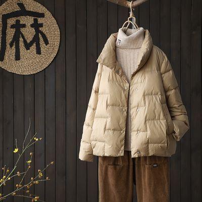 2020反季秋冬新款白鸭绒立领宽松显瘦轻薄保暖短款女士羽绒服外套