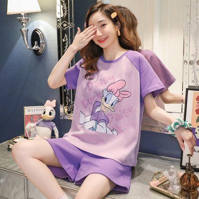 睡衣女夏季短袖2021薄款韩版可爱学生可外穿大码夏天家居服套装