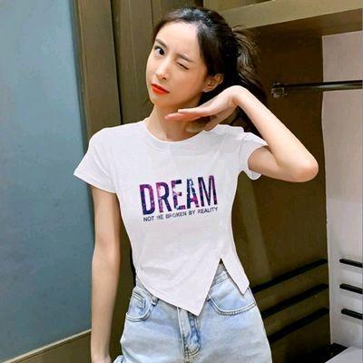 34514/100%纯棉夏季新款不规则开叉短袖T恤女设计感小众上衣气质半袖潮