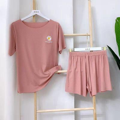 34753/夏薄款冰丝睡衣女2021新款短袖短裤两件套韩版休闲外穿家居大码
