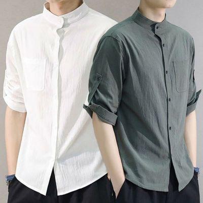 39217/2021新款男士短袖爆款夏季休闲立领衬衣青少年七分袖薄款衬衫休闲