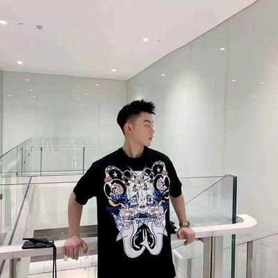 77263/男士夏季新款 蒙太奇系列印花休闲宽松休闲男短袖女T恤