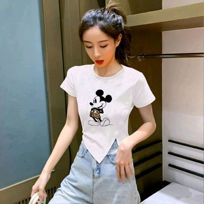【100%纯棉】不规则开叉白色印花短袖t恤女装2021年夏季短袖上衣