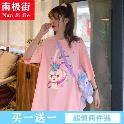 39810/紫色t恤女夏季韩版宽松中长款卡通兔子印花短袖打底衫上衣ins潮