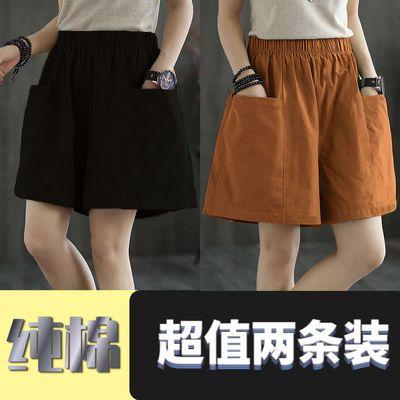 36717/【纯棉】女夏阔腿短裤休闲新款宽松显瘦裤子高腰百搭直筒五分裤女
