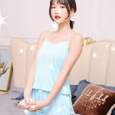 35523/冰丝睡衣女夏季套装性感吊带睡衣女短款两件套宽松休闲家居服套装