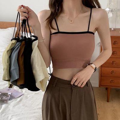 35750/韩版撞色吊带背心女夏季可外穿带胸垫短款抹胸修身显瘦打底内衣女