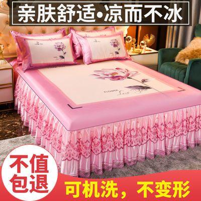 36088/夏季新款床裙款冰丝凉席三件套大版印花冰丝席宿舍空调软席可机洗