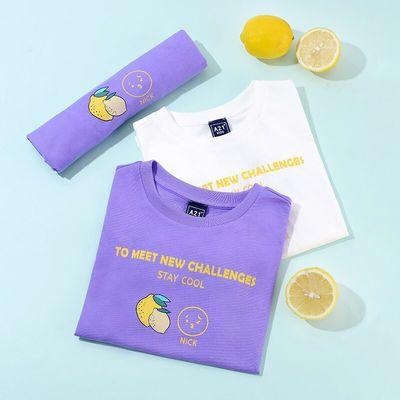 A21童装男童短袖T恤宽松落肩短袖T恤衫2021夏季新品儿童T恤纯棉