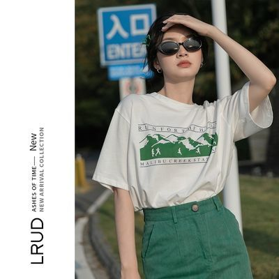 40407/LRUD纯棉短袖t恤女夏设计感2021新款宽松上衣薄款半袖气质体恤潮