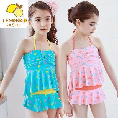 柠檬宝宝儿童泳衣连体裙夏季游泳中大童女孩吊带泳衣潮牌印花泳装