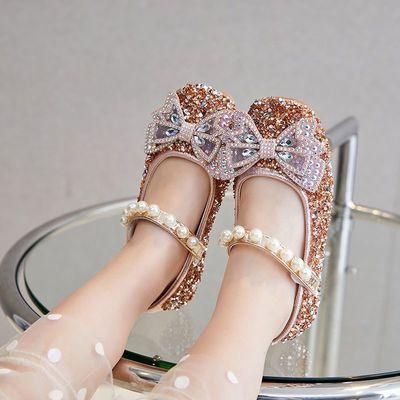36249/小年度 女童皮鞋高跟公主鞋春秋韩版女童鞋小女孩水晶儿童单鞋女