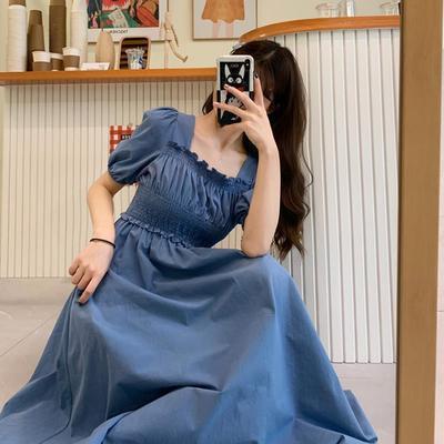 36146/复古方领泡泡袖裙子2021年新款夏天薄款长裙显瘦显高气质连衣裙女【6月17日发完】