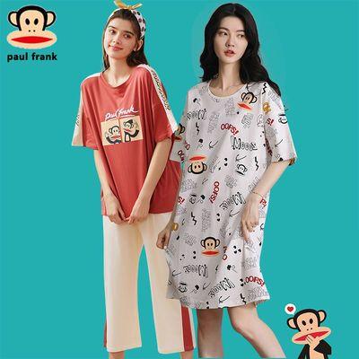 39378/大嘴猴夏季女睡衣两件套短袖短裤韩版薄款印花纯棉睡裙家居服套装