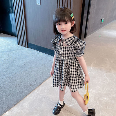38661/女童连衣裙洋气韩版宝宝翻领格子短袖镂空裙子儿童洋气公主裙