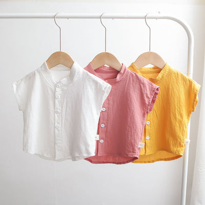 37747/男童衬衣短袖夏装新款韩版儿童半袖上衣棉麻立领纯色衬衫宽松薄款