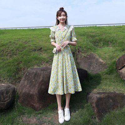 36713/绿色小清新碎花雪纺连衣裙女2021新款夏季娃娃领气质收腰显瘦裙子