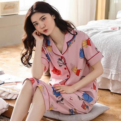 35692/南极人100%纯棉睡衣女士夏季学生高档睡衣短袖七分裤家居服套装