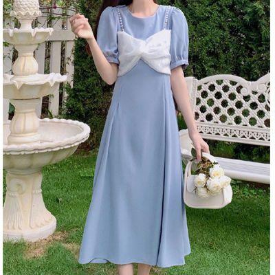 55952/大码夏胖妹妹学院仙女裙温柔风连衣裙女设计感小众泡泡袖显瘦长裙