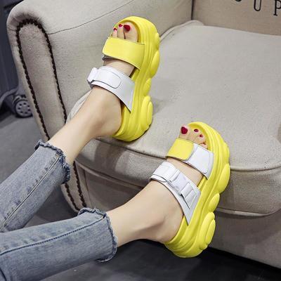 37755/网红凉拖鞋女外穿2021新款夏季百搭松糕厚底增高一字拖时尚拖鞋潮