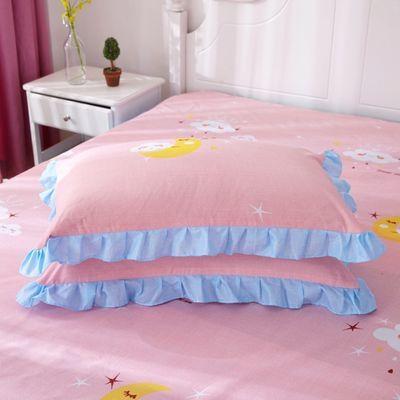 72416/枕套一对装纯色枕头套单人枕皮学生宿舍花边枕芯套48x74单品大号