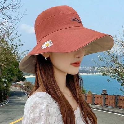 37441/韩版双面小雏菊渔夫帽女防晒帽子遮阳太阳帽夏季帽子大帽檐太阳帽