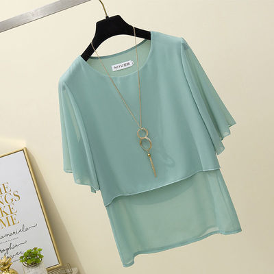 36303/短袖雪纺衫女夏装2021新款洋气宽松甜美韩版遮肚子夏季显瘦上衣潮
