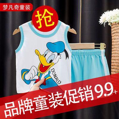 夏季新款男童背心T恤儿童宝宝纯棉套装舒适运动衫中小童宽松无袖