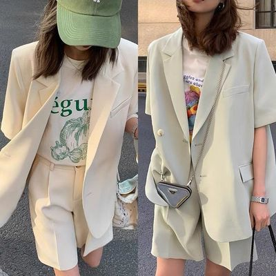 48348/短袖西装女套装宽松韩版中长款西服外套夏季西装短裤时尚两件套潮