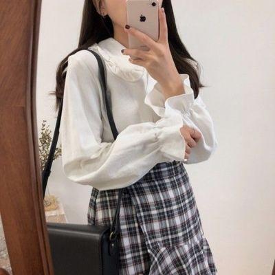 62500/2021春秋季韩版木耳边娃娃领宽松百搭打底白色长袖衬衫衬衣上衣女