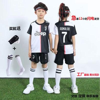 39658/儿童足球服套装c罗尤文图斯男女足球服足球训练服小学生比赛定制