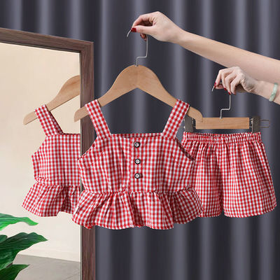 【上衣+短裤】儿童短袖套装2021新款女宝宝套装夏装格子潮款