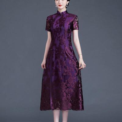 51544/刺绣改良民族风刺色女士中年礼服旗袍修身显瘦复古妈妈连衣裙夏装