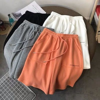 36543/运动短裤女夏季新款韩版宽松高腰ins港风直筒五分裤休闲沙滩裤子